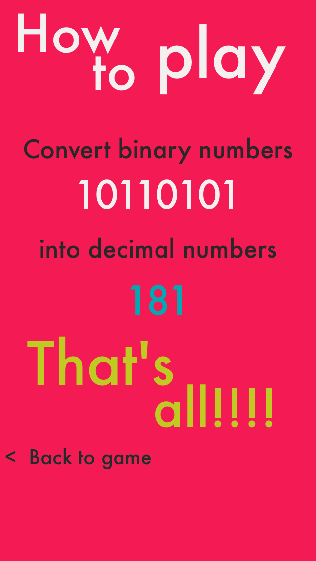 Binary - convert binary numbers into decimal numbers screenshot two