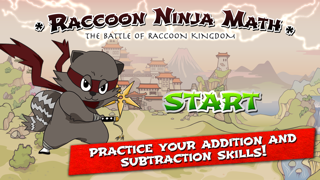 Raccoon Ninja: Addition Subtraction Games and Problems for Fast Basic Kindergarten Math Lessons screenshot one