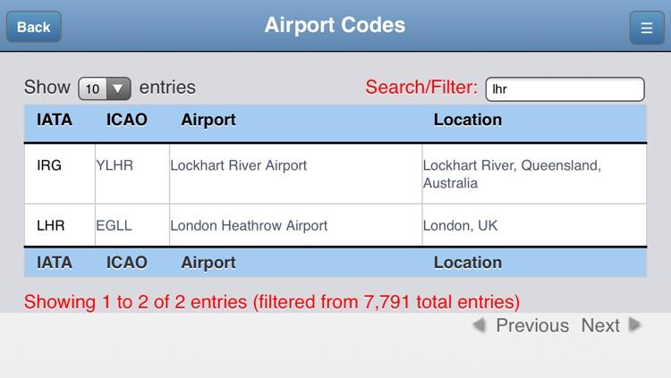Airport Codes Database by Jeff Maynard