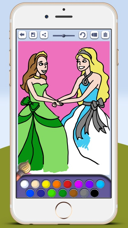 Paint princesses game for girls to color beautiful ballgowns with the finger screenshot-4