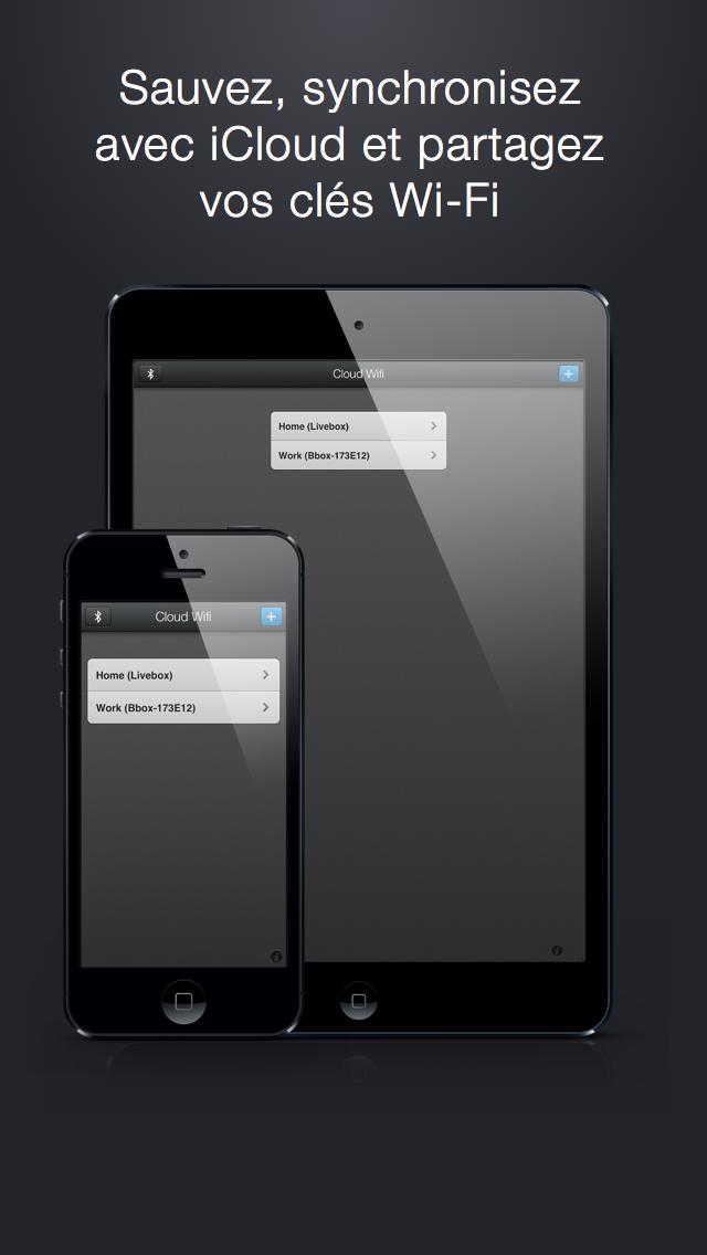 Cloud Wifi : sauvez, synchronisez avec iCloud et partagez vos clés wifi par email, iMessage/SMS et bluetooth iPhone