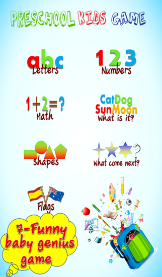 Preschool Kids Game : 7 Educational Learning English is Fun (Preschool math, abc, number, letter, Word, spelling, First Words, Sight Words) screenshot two