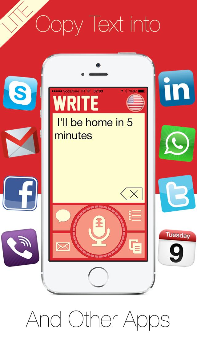 Write Lite -  一鍵式語音到文本聽寫,語音識別,直接短信和電子郵件提醒。屏幕截圖5