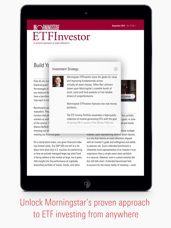 Morningstar ETFInvestor - ETF Investing, Research & Analysis.  Asset Allocation & Income Portfolios.