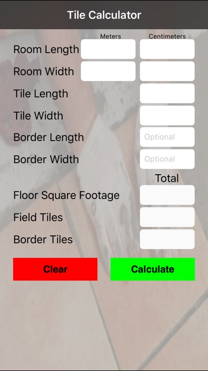 Tile Calculator Metric
