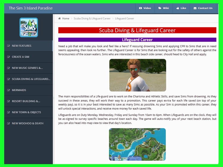 Guide for The Sims 3 Island Paradise