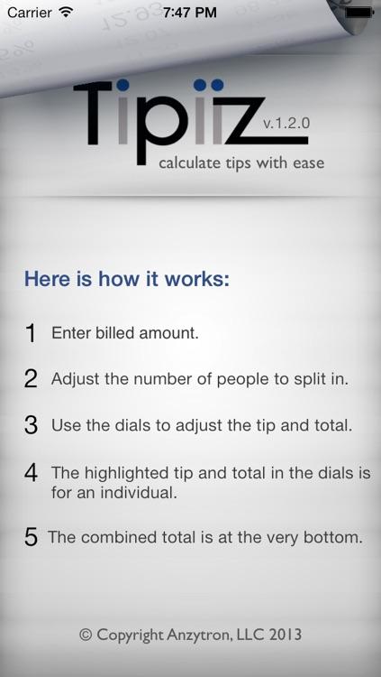 Tipiiz - A convenient tip calculator - FREE