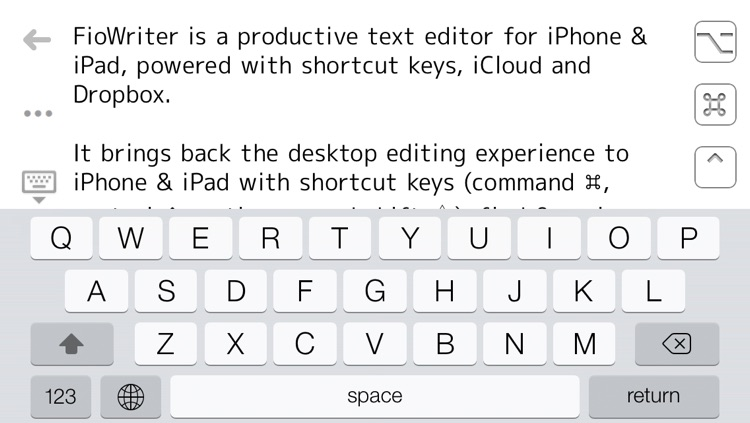 FioWriter Lite - Productive text editor for iPhone & iPad with command keys and cloud sync screenshot-4