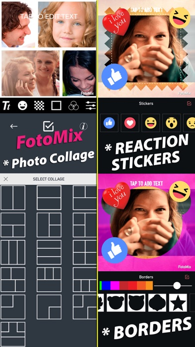 FotoMix for Snapchat,Photo Collage,Text,Reaction Stickers,Shape