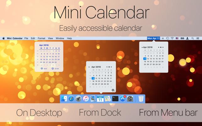 Mini Calendar on the Mac App Store