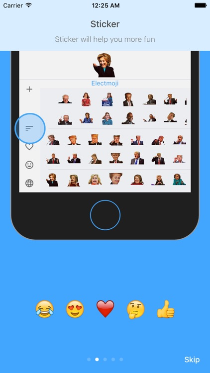 ElectMoji : Election & vote emoji sticker keyboard by Donald Trump, Hillary Clinton, Ted Cruz