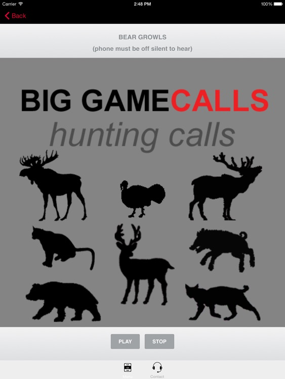 Big Game Hunting Calls -The Ultimate Hunting Calls App For Whitetail Deer, Elk, Moose, Turkey, Bear, Mountain Lions, Bobcats and Wild Boar & BLUETOOTH COMPATIBLE screenshot-0