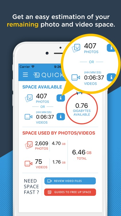 QuickSpace - Available Photo & Video Space and Video Viewer