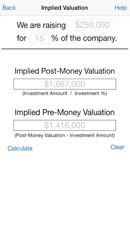 Founder's Pocket App: Startup Valuation