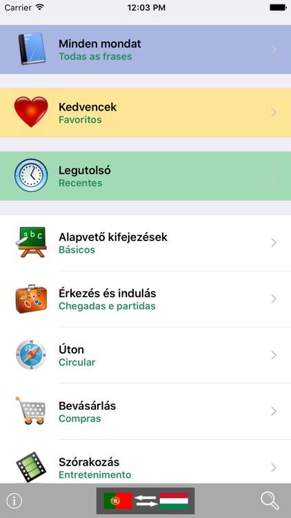 Magyar / Portugál kifejezéstár - Portuguese / Hungarian phrasebook - Multiphrasebook screenshot-0