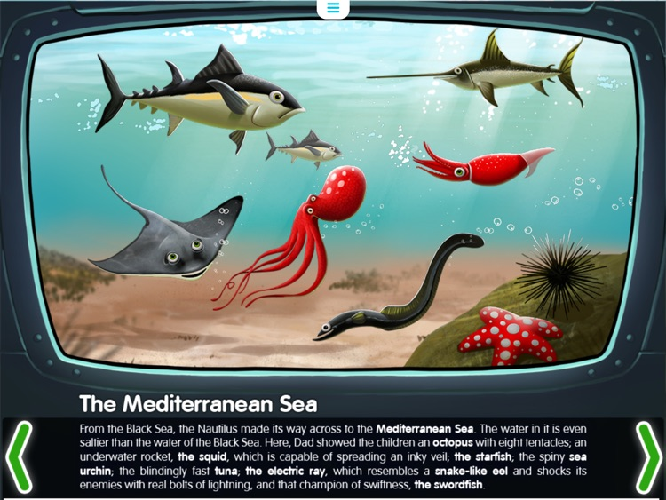 Water Planet. Interactive story for kids. Ocean and its inhabitants.
