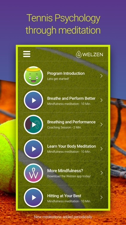 Welzen Tennis - Guided meditation app for pros screenshot-1