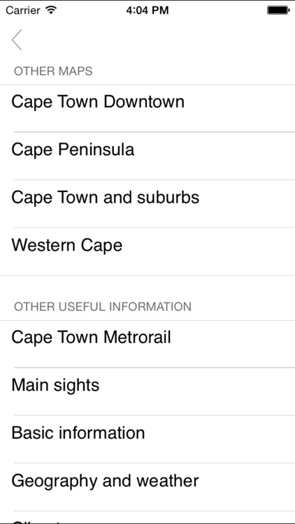 Cape Town. Road map.