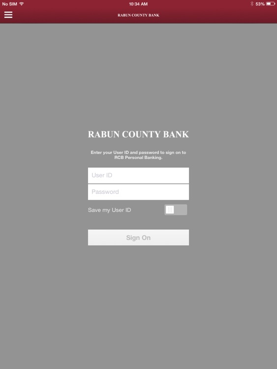 RCB Personal Banking for iPad