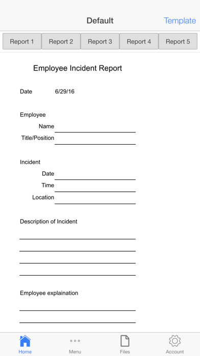 Employee Incident Report Screenshot on iOS