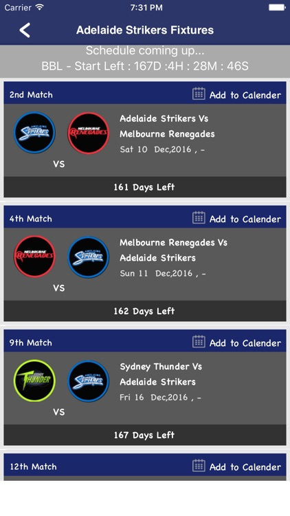 BBL Woman 2016 Unofficial  - Schedule,Live Score,Today Matches screenshot-4