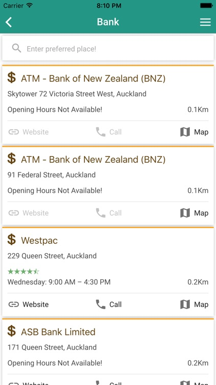 Locate Nearby Restaurants Atm Banks