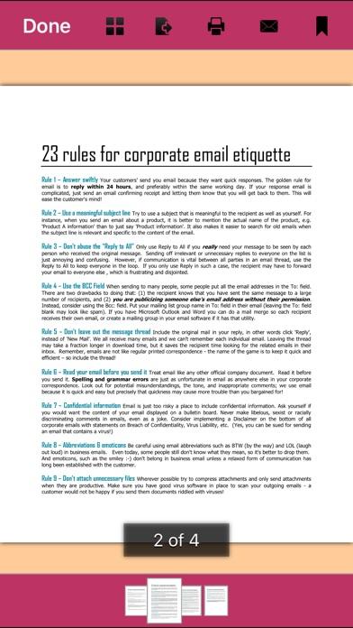 Email Etiquette review screenshots