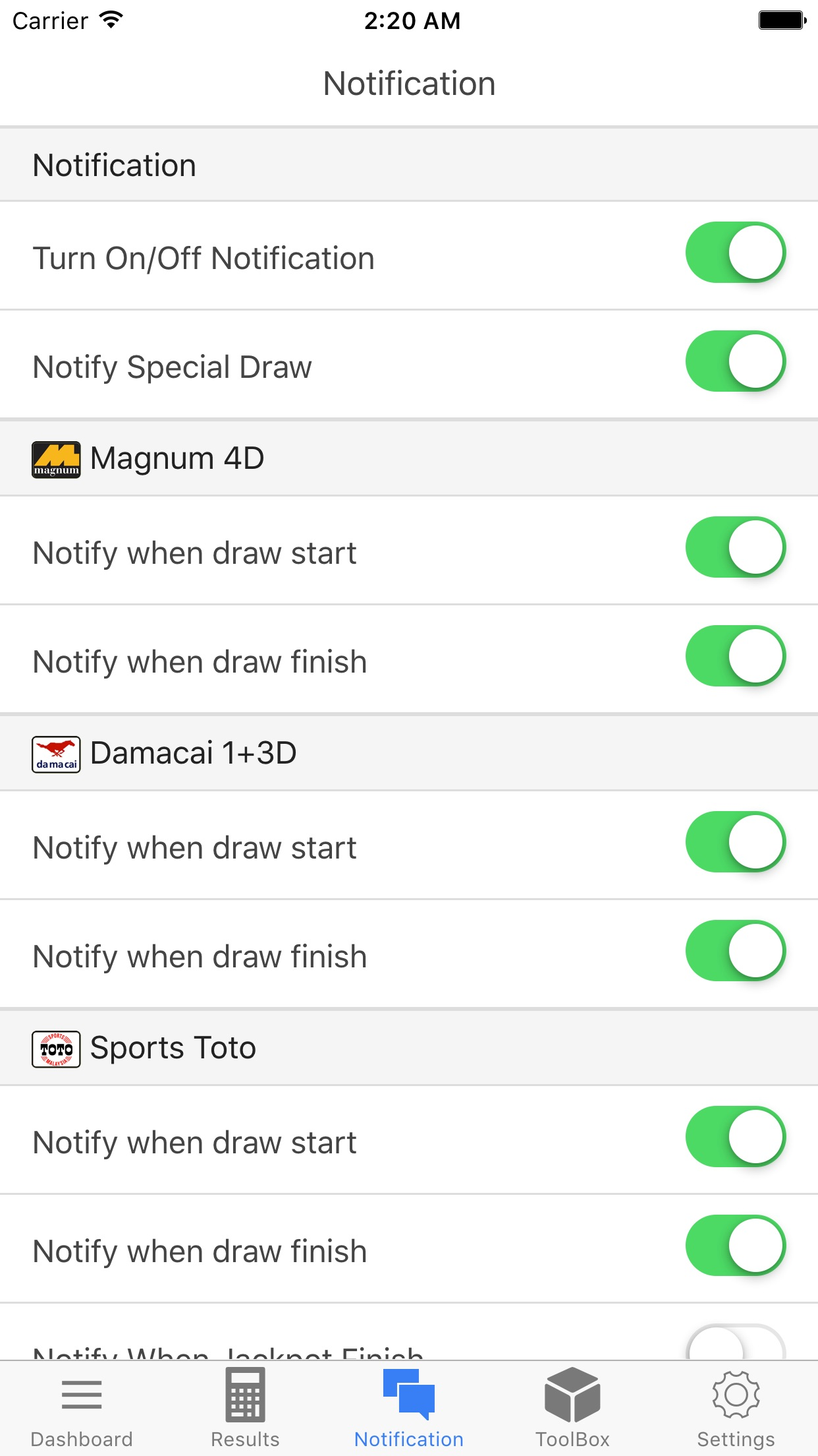 4D King Live 4D Results Screenshot