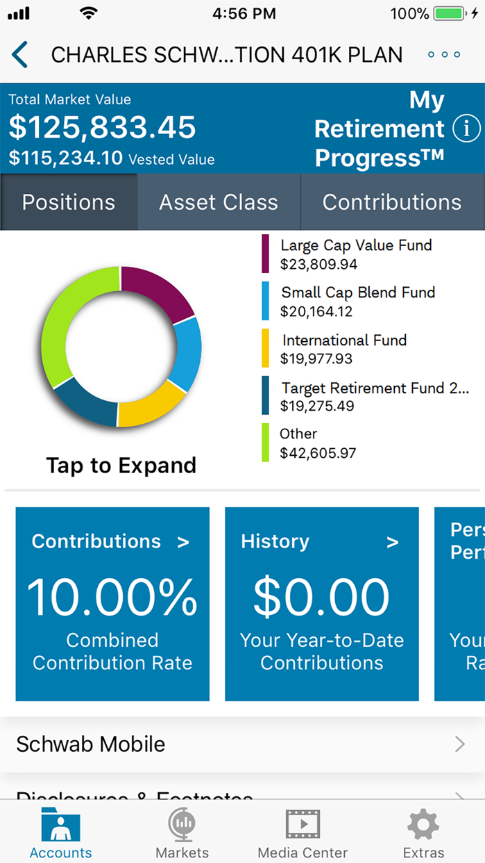 Schwab Workplace Retirement Screenshot