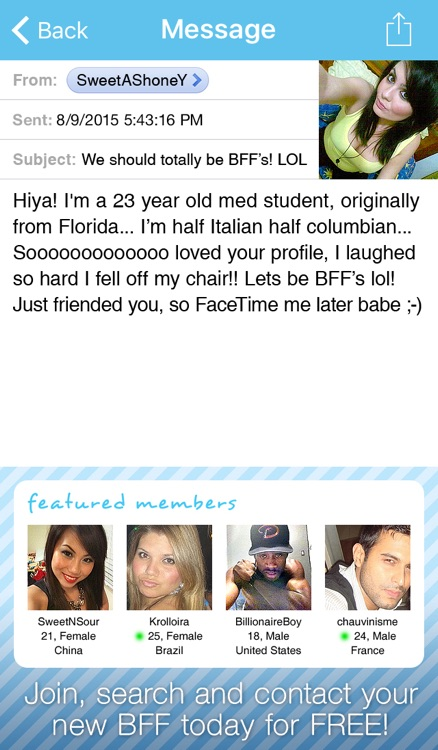 Video Chat BFF Plus! - Social Text Messenger to Match Straight, Gay, Lesbian Singles nearby for FaceTime, Skype, Kik & Snapchat calls screenshot-3