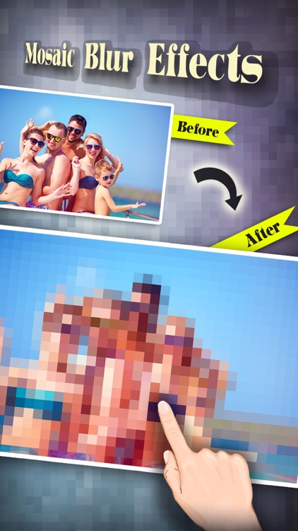 Mosaic Blur Effects Filter Pro - Censor Pixelate Photo Editor: Touch to Show & Hide Selected Area