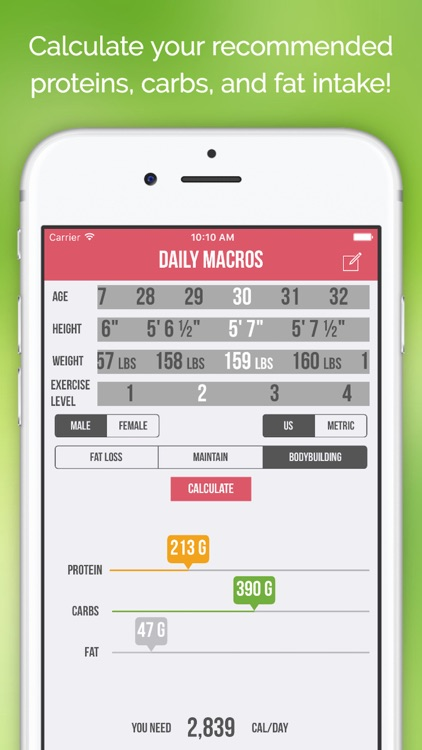 Daily Macros - Harris Benedict Formula Based Carb, Protein, Fat Macronutrient ratios and Calorie Calculator