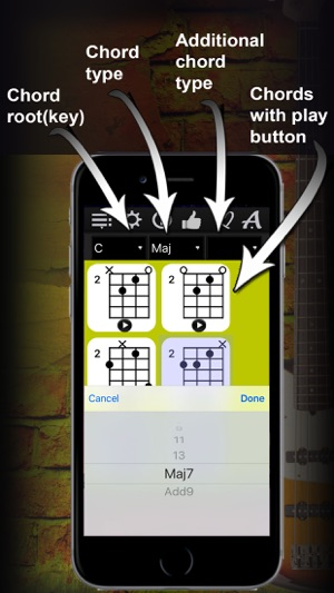 Bass Chords Compass - learn & play chord charts