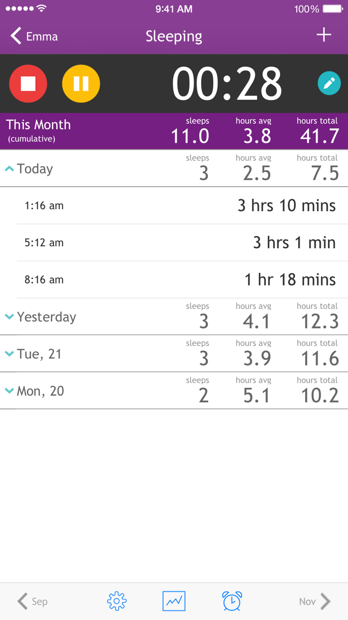 Baby Breastfeeding Tracker Screenshot