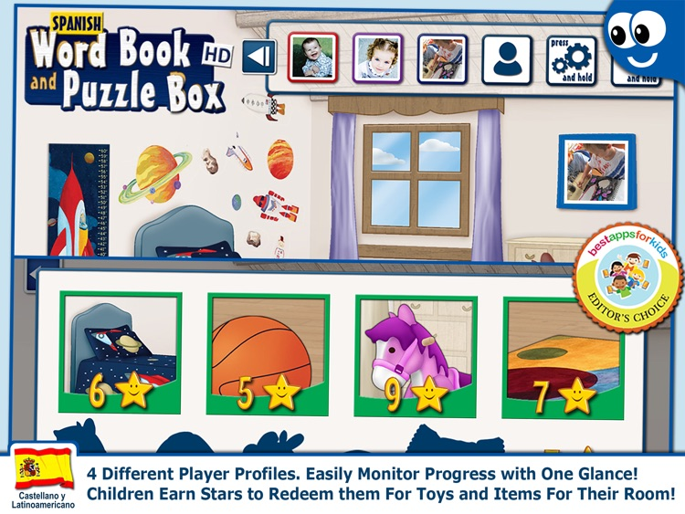 Spanish First Words Book and Kids Puzzles Box: Kids Favorite Activity Center in an Interactive Playing Room screenshot-3