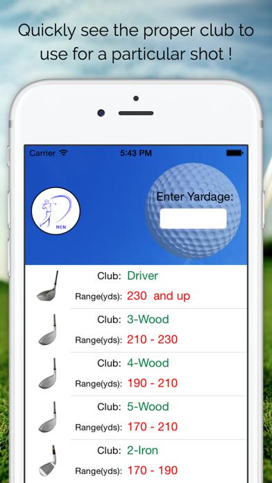 Pro Caddie Golf Club Selector screenshot one