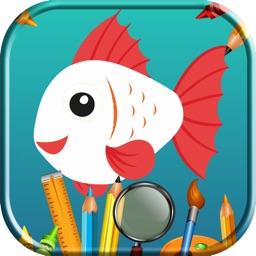 Coloring Sea Animal Vocabulary