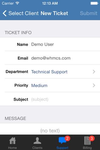 Screenshot of iWHMCS