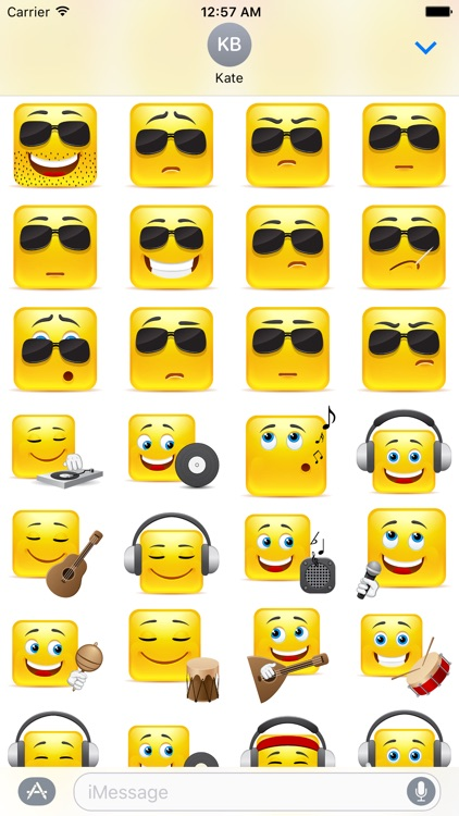 Yellow Square Smiley Emoji Stickers screenshot-3