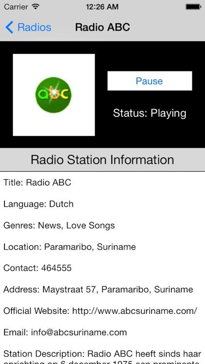 Suriname Radio Live Player (Paramaribo / Dutch) screenshot-3
