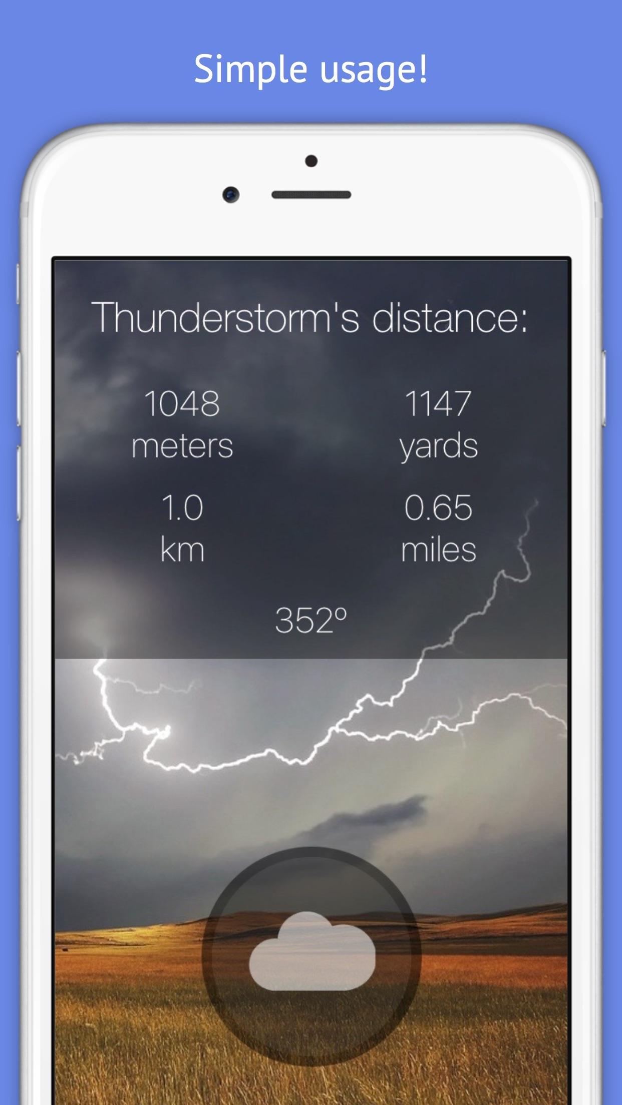 Thunderstorm Location Calculator - Get Distance & Location of the next Thunderstorm! Screenshot