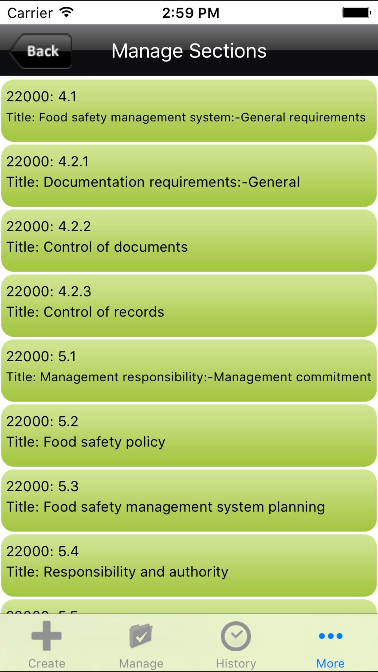 ISO 22000- Internal Food Safety Management Audit Screenshot
