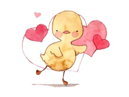 The yellow funny duck from watercolors character that will make you have fun with friends and all your love