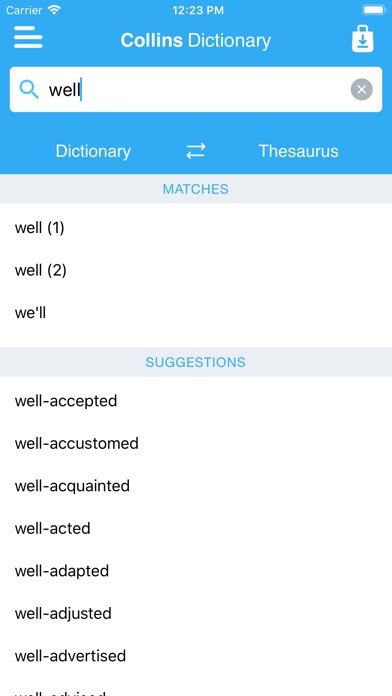 Collins Dictionary & Thesaurus Screenshots