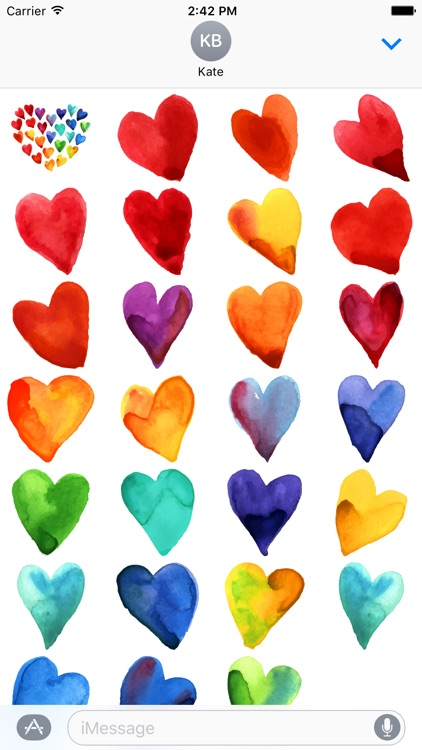Beautiful Watercolor Heart Stickers