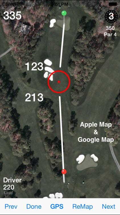 Golf GPS Range Finder Scorecard & Course Locator