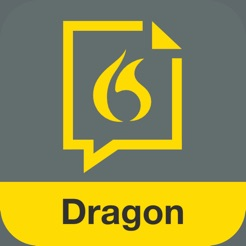 Via Itunes.com [Image description: Dragon Dictation app logo, a graphic of a yellow flame.]