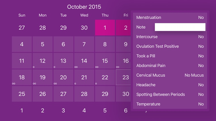 Menstrual Period Tracker and Ovulation Calendar
