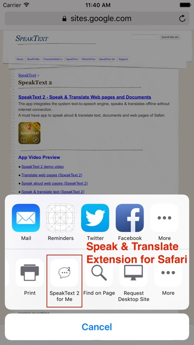SpeakText 2 Screenshot