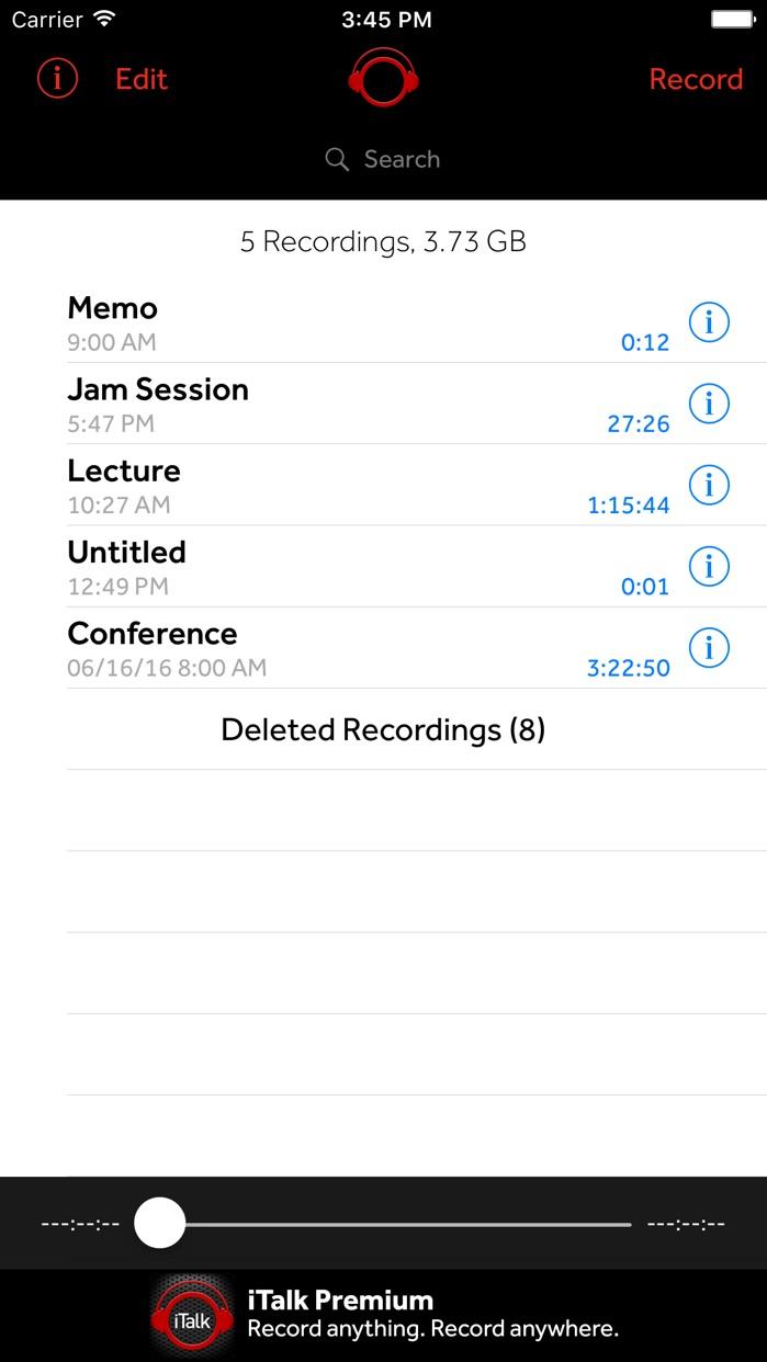 iTalk Recorder Screenshot